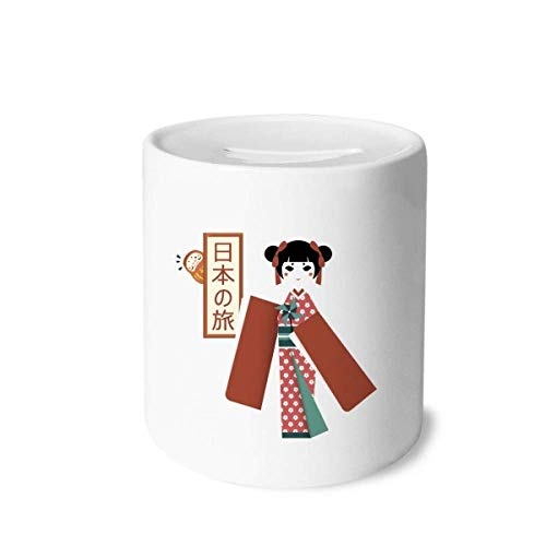DIYthinker Traditional Japanese Local Girl Money Box Saving Banks Ceramic Coin Case Kids Adults