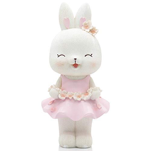 H&W Cute Pink Rabbit Coin Bank for Girls Squint Rabbit Money Box Cherry Sakura Rabbit Piggy Bank Best Gift for Children WK021-D1