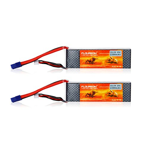 Floureon 3S 25C 111V 2200mAh Rechargable Li-Polymer Lipo RC Battery Pack with EC3 Plug Connector for RC Airplane RC Helicopter RC Car RC Truck RC Boat