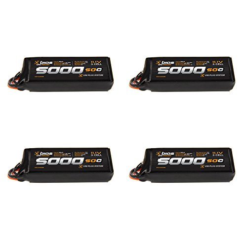 Bias 50C 3S 5000mAh 111V LiPo Battery with UNI Plug EC3DeansTraxxasTamiya for RC Car Truck Buggy Boat Quadcopter Heli and Drone x4 Packs