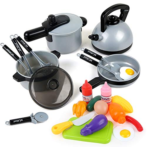BeebeeRun 22 Pcs Kids Kitchen Pretend Play Toys Cookware Toys with Pots and Pans for Toddlers Girls Boys Cooking Playset Toys for 2 3 4 5 6 7 Years Old Kitchen Playset Accessories with Play Food
