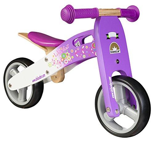 Bikestar 7 Inch 180 cm Kids Balance Bike  Running Bike - Wooden - Purple and White