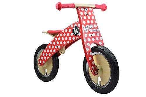 Kiddimoto Kids Kurve Wooden Balance Bike - Red Dotty