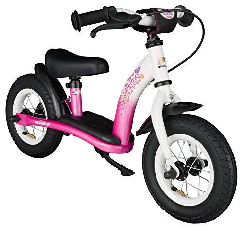 Bikestar 10 inch 254cm Kids Balance Bike  Kids Running Bike - Classic - Pink and White