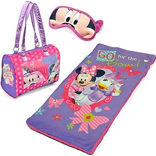 Disney Minnie Mouse Girl Sleepover Set with Sleeping Bag Purse and Eye Mask