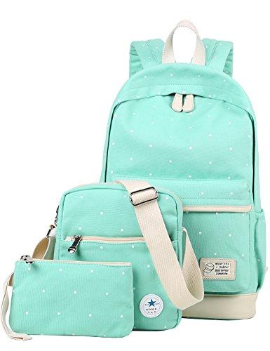 Mygreen Cute Canvas Backpack for School Girls Shoulder Bag Messenger Bag Purse Pencil Case Large Set