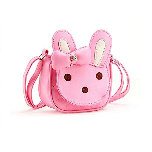 Pinky Family Kids Cartoon 3D Animal Handbag Girls Pink Rabbit Shoulder Purse Baby Toddler Crossbody Messenger Bag Bowknot
