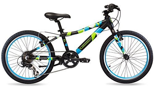Guardian Premium Kids Bike SureStop anti-lock childproof brake system 20 inch wheels for heights 38 to 45 6-speed threadless headset sealed bottom bracket Matte Black Blue and Green