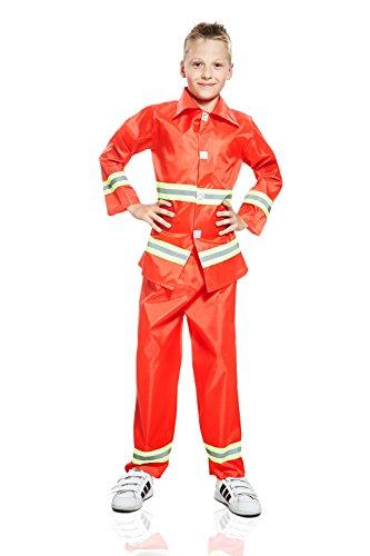 Kids Boys Brave Fireman Halloween Costume Fire Fighting Hero Dress Up Role Play 3-6 years red yellow metallic