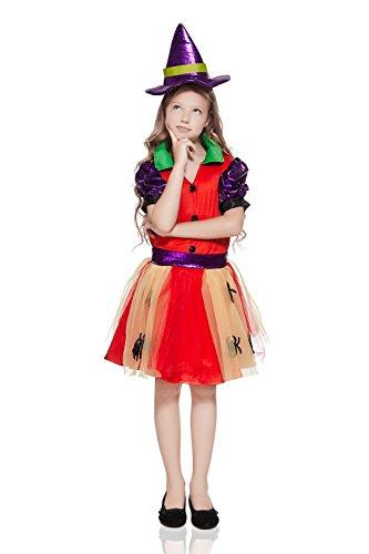 Kids Girls Spider Witch Halloween Costume Rainbow Spiderella Dress Up Role Play 3-6 years red purple yellow