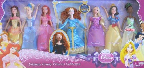 Disney ULTIMATE PRINCESS COLLECTION Set of 7 DOLLS w BRAVE MERIDA Belle Cinderella Ariel Rapunzel Snow White Tiana TARGET EXCLUSIVE 2011