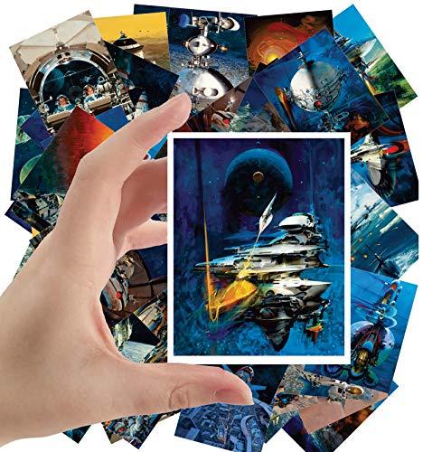 Large Stickers 24 pcs 25x35 Vintage SciFi Space Battles Aliens Comic Art John Conrad Berkey
