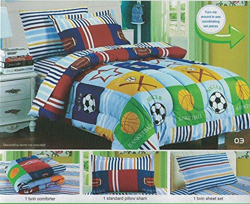 Boys Sports Themed Comforter Set Childrens Soccer Football Baseball Patchwork Sheet Set Twin Size 5 Pieces