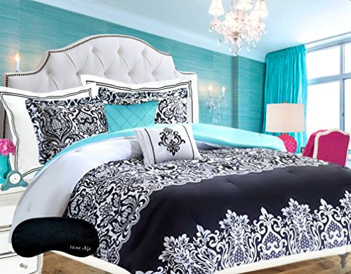 Teen Girls Bedding Damask Comforter SUPER SET Black and White Aqua Blue Teal Full Queen  2 Shams  2 GORGEOUS Throw Pillows Home Style Brand Sleep Mask HUGE 6 Pc Bedspread Sets for Girl Kids
