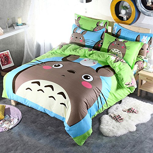 CUTI Cartoon Anime Totoro Bedding 3 Piece Cotton Duvet Cover Set - Twin for 12135m bed