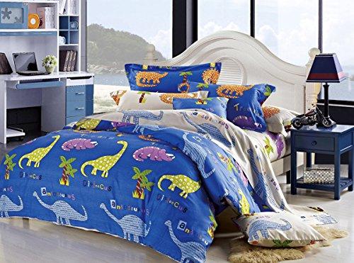 Cliab Dinosaur Bedding Queen Kids Bedding Queen Size 100 Cotton Duvet Cover Set 5 Pieces