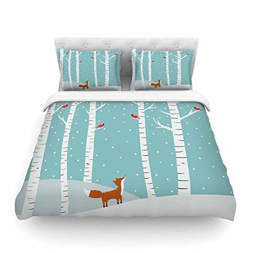 KESS InHouse Cristina bianco Design Fox Cardinals Winter Blue Kids Twin Cotton Duvet Cover 68 by 88-Inch