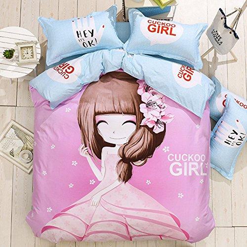 4Pcs Cotton Blend Bedding Set Cartoon Pattern Duvet Cover Set Dandelion Girl Duvet Cover Bedding for Kids Christmas Gift for GirlsQuilt Not IncludedQueen Size 2