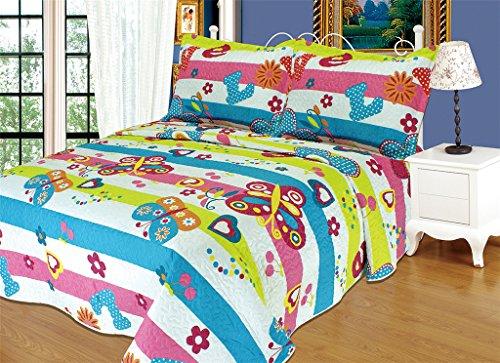 Butterfly 2 Piece Girls Bedspreads Quilt Set Twin-size 1 Quilt 1 Pillow Case
