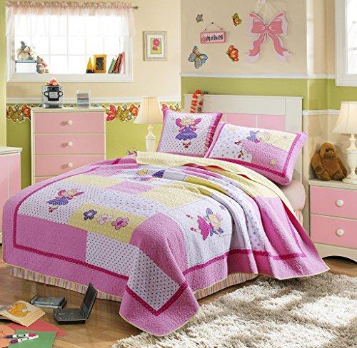 XQL 100 Cotton Girls Princess Castle 2 Piece Set Patchwork Quilted Bedspread - Twin Size