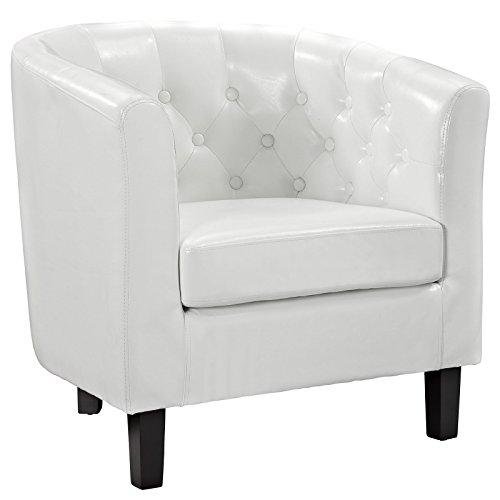LexMod Prospect Button Armchair White Vinyl