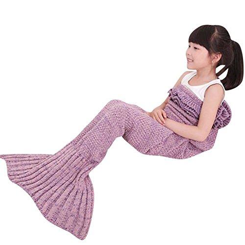 BROSHAN Knitted Mermaid Blanket Kids Sofa Falbala Mermaid Tail Bed Throw Blanket for Girls Scalloped Seatail All Season Sleeping Bag Blanket 4 Colors Pale Mauve