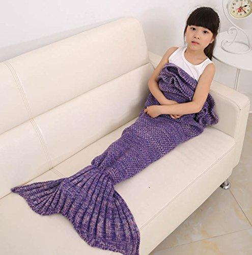 Girls Blanket Zerowin Mermaid Tail Knitted Blanket Sleeping bag 55275inches 470g dark purple