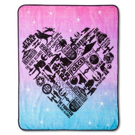 Star Wars Girls Classic Heart Throw Blanket 46 in x 60 in