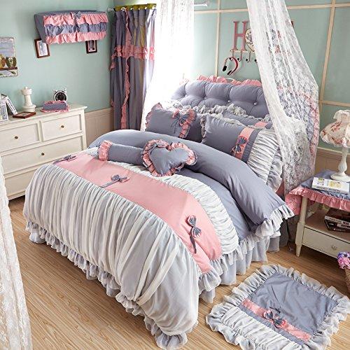 Sisbay Fancy Grey Pink Bedding King French Girls PillowsFashion New Bed SkirtPrincess Falbala Bownot Duvet Cover7pcs