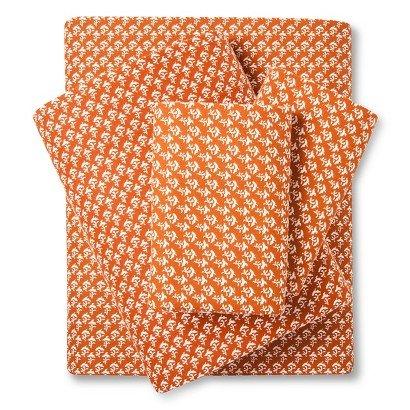 100 Cotton Flannel Sheet Set Orange Treasure King Size
