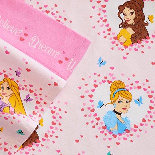 Disney Princess Twin Size Heavyweight 3-Piece Flannel Sheet Set Pink Hearts