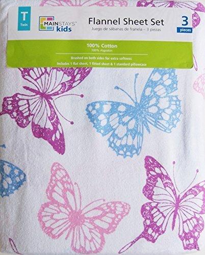 Kids Flannel Sheet Set - Twin - Butterfly Print