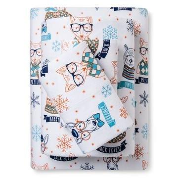 Pillowfort Hipster Animal Twin Flannel Sheet Set