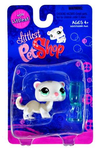 Hasbro Year 2007 Littlest Pet Shop Single Pack Littlest Series Bobble Head Pet Figure Set 579 - White FERRET with Water Bottle Feeder 65127