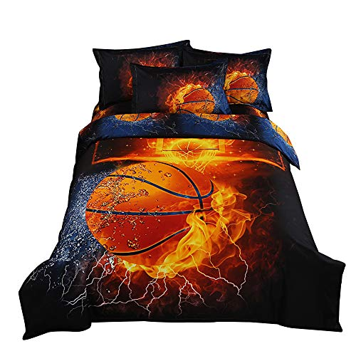 ZHH 3D Duvet Cover Sets Full Size Sports Basketball Fire Pattern Kids Bedding Set Ultra Soft Quilt Cover for Boys Kids and Teens 1 Duvet Cover Set  2 Pillowcases Full Basketball Fire