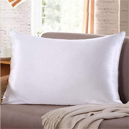 Euone  Pillow CaseIce Silk Pillowcase Solid Color Simulation Silk Single Pillowcase White