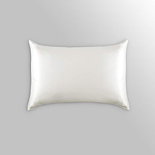 ALASKA BEAR Luxurious 25 Momme Silk Pillowcase 100 Mulberry Silk Pillow Case Cover Queen 1 IvoryNatural Undyed White
