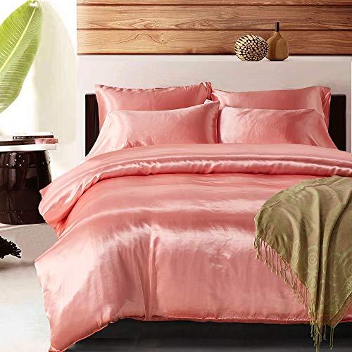 HYH Bedroom Pink Soft Silk Silk Simple Polyester Fiber Set Bedding Three-Piece High Simulation Silk Pillowcase 2  Quilt Cover Beautiful Life