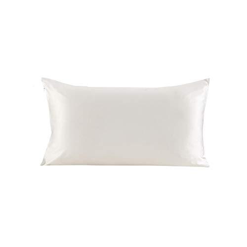 Perfect-Mood Pure 100 Silk Pillowcase Hair with Hidden Zipper 19 Momme Terse Color for Women Men Kids GirlsIvory50x75cm