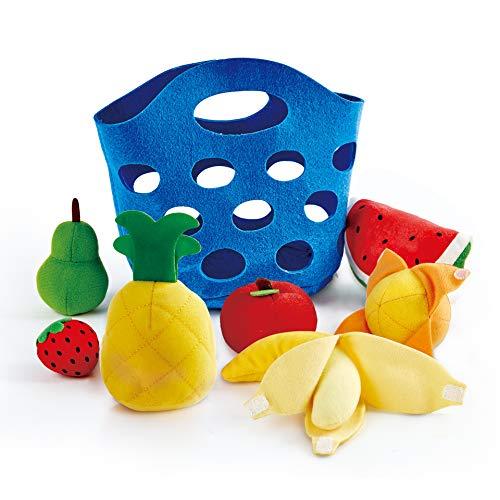 Hape Toddler Fruit Basket Soft Pretend Food Playset for Kids Fruit Toy Basket Includes Banana Apple Pineapple Orange and More