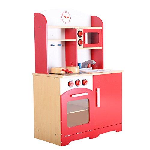 Costzon Wood Kitchen Toy Kids Cooking Pretend Play Set Toddler Wooden Playset