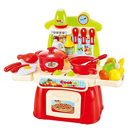 Creative Kids Pretend Play Toy Children Kitchen Playset Toy Red
