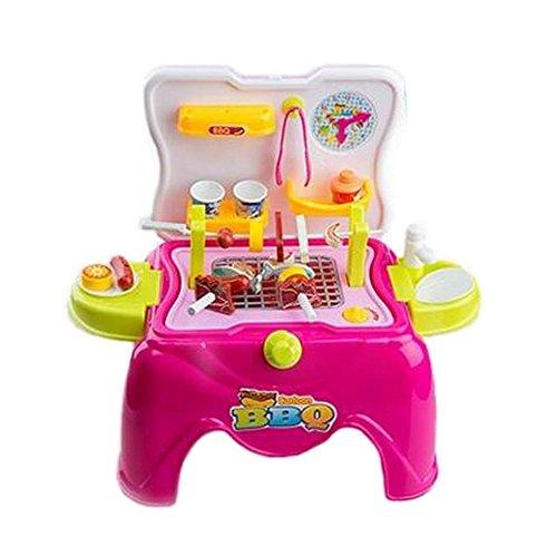 Creative Kids Pretend Play Toy Kitchen Playset Stool BBQ Pink