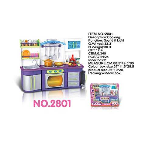 Emorefun Battery Powered Plastic Play Kitchen Set Pretend Play Kitchen Toys for Kids with Sound and Light