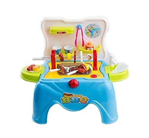 Creative Kids Pretend Play Toy Kitchen Playset Stool BBQ Blue