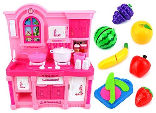 Mini Rainbow Kitchen Childrens Kids Toy Kitchen Playset w Flashing Lights Music Toy Fruit Accessories