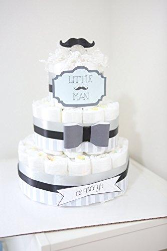 3Tier - Little Man Mustache Diaper Cake  Baby Shower Centerpiece  baby shower gift  bow black gray  Baby Room Decoration  unique