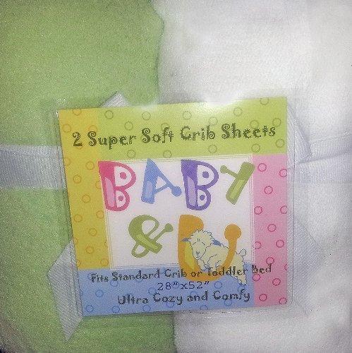 Baby U Super Soft Crib Sheets Green and White by Baby U