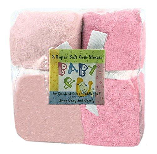 Baby U Super Soft Crib Sheets Solid Light Pink Solid Dark Pink by Baby U