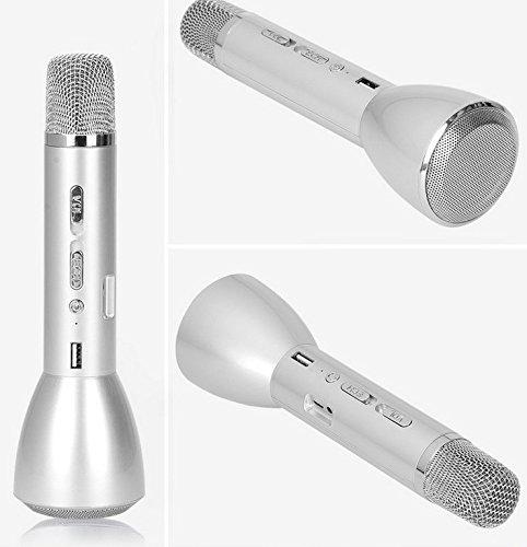 TheFashionWay Wireless Microphone Bluetooth Speaker Karaoke 18650 Battery Powered Handheld Cellphone Mic Power bank Silver